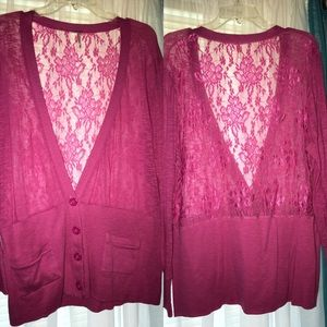 Sweaters - A Lace Cardigan with Two Front Pickets